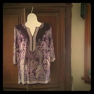 Roz and Ali top S purple Paisley stretch knit boho